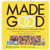 MadeGood - Organic Granola Bars, Chocolate Banana (6 x 0.85 oz) 有機朱古力香蕉燕麥棒